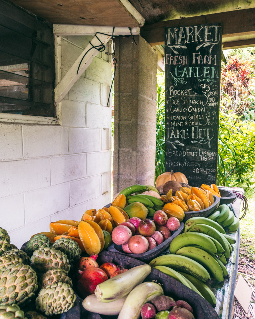 Fresh fruit for sale at Tauono's Market and Cafe