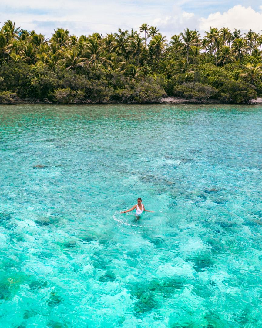 Aitutaki, drone shot of the lagoon