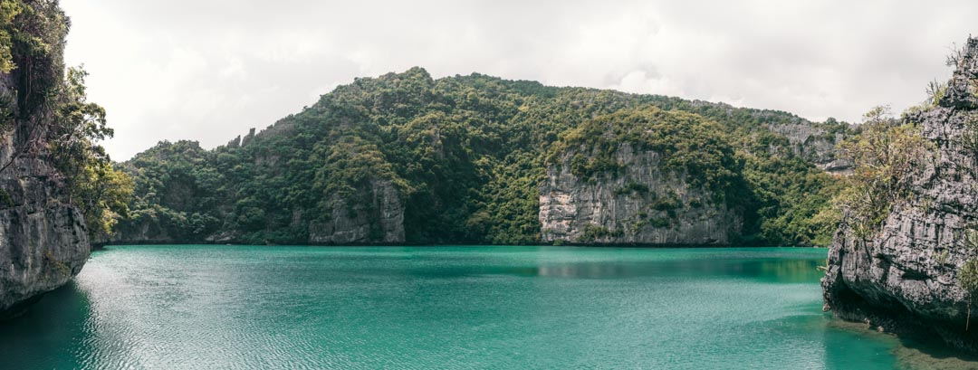 The emerald lake at Koh Mae Ko panorama