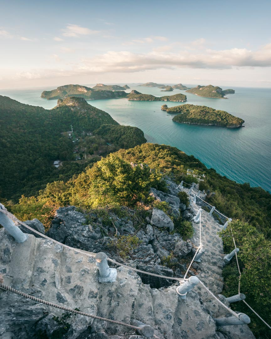 Fisheye perspective of the top portion of the stairs to the uppermost viewpoint on Koh Wua Talap