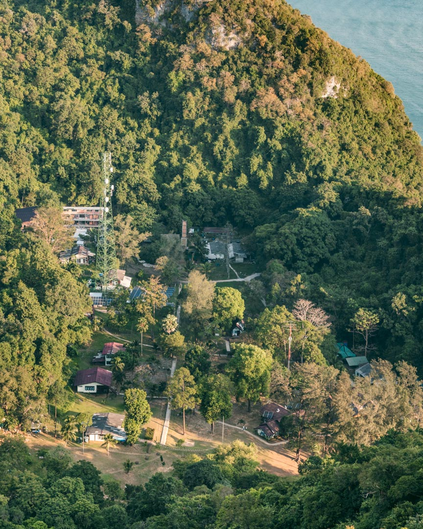 The settlement of Koh Wua Talap including the national park's headquarters seen from above