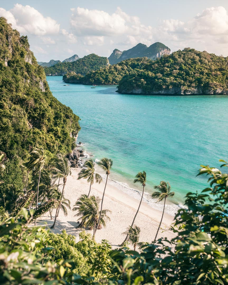 Beach on Koh Wua Talap in Ang Thong National Marine Park in Thailand from one of the lower viewpoints on the way to the viewpoint of viewpoints
