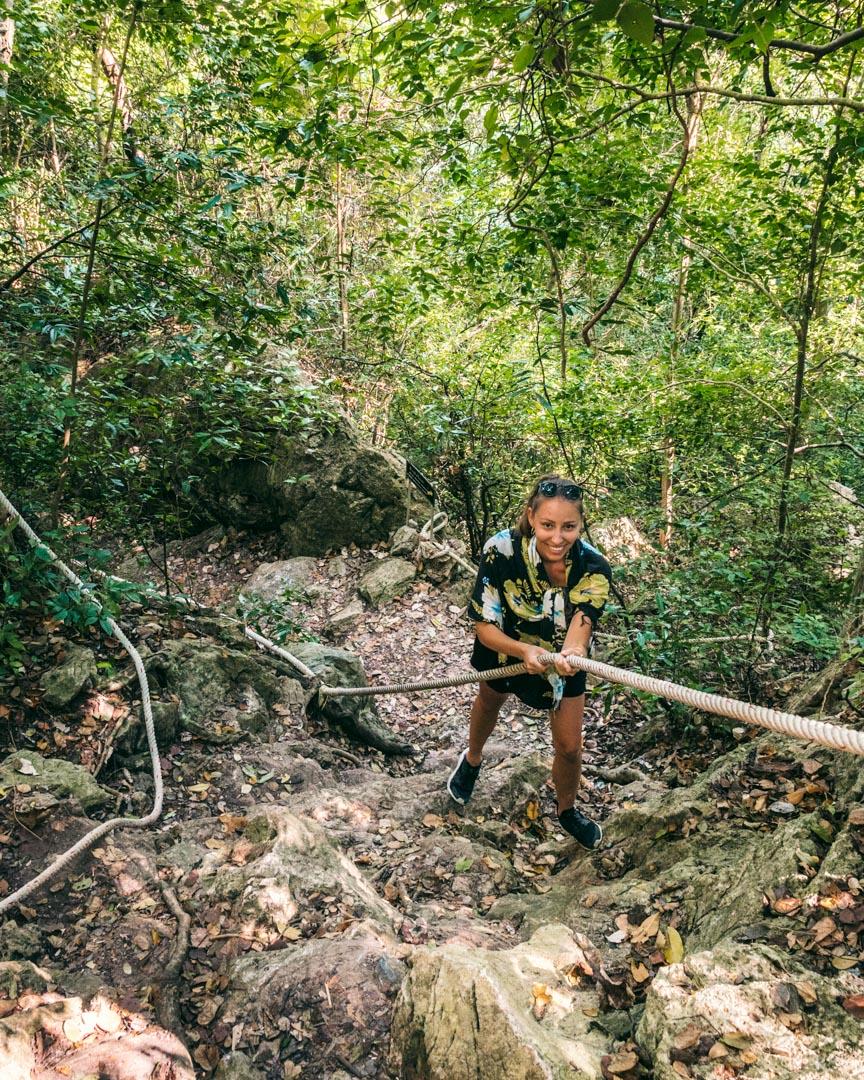 Trekking to Bua Bok Cave on Koh Wua Talap