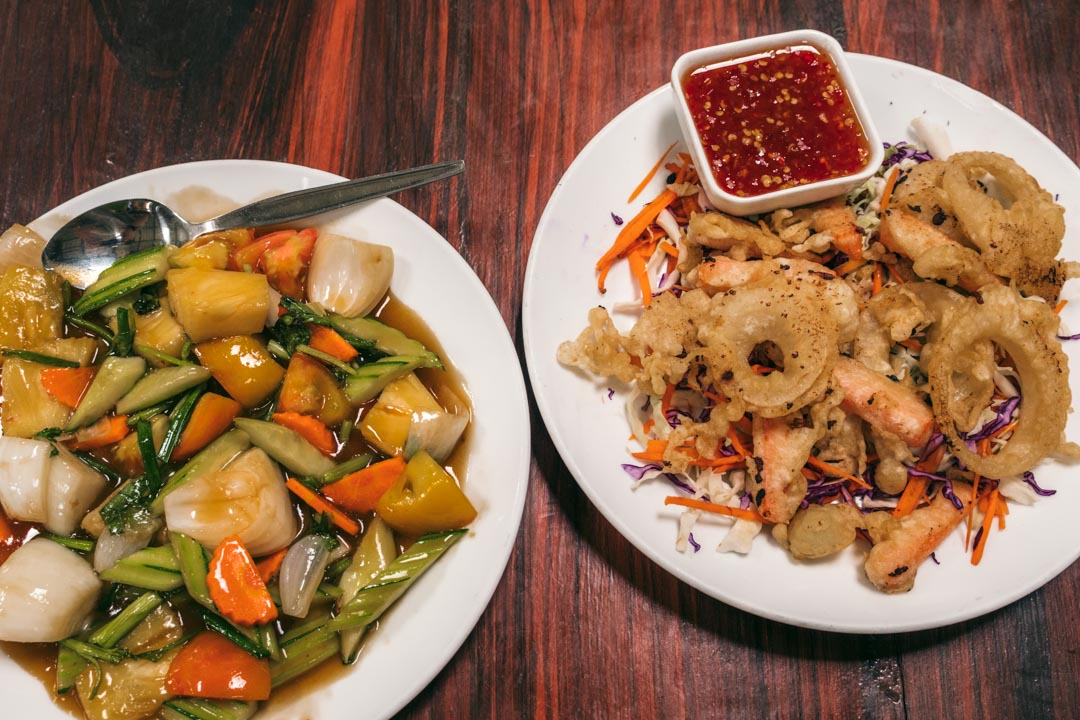 Thai vegetable dishes at Koh Wua Talap restaurant