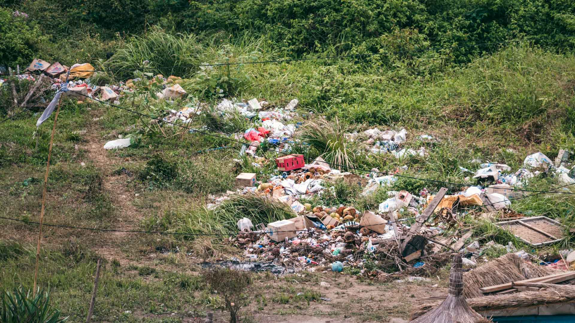 Trash behind Atuh Beach