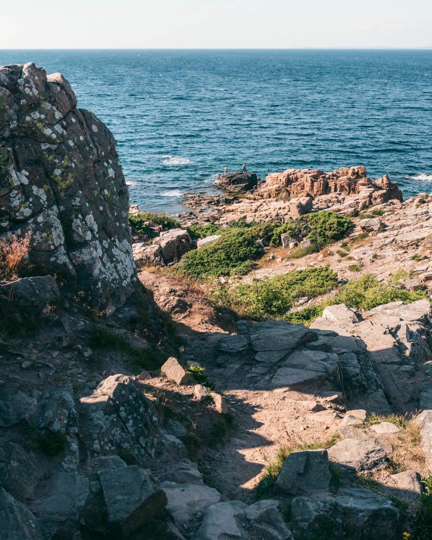 The impressive rock formations at Hovs Hallar