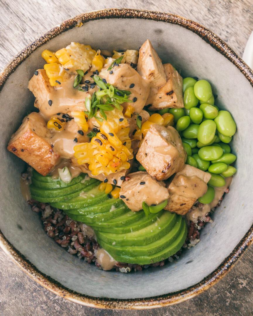 Vegan poke bowl at The Avocado Factory