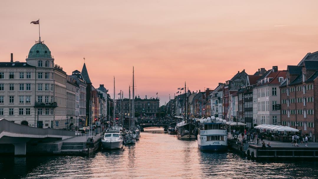 Copenhagen sunset at Nyhavn