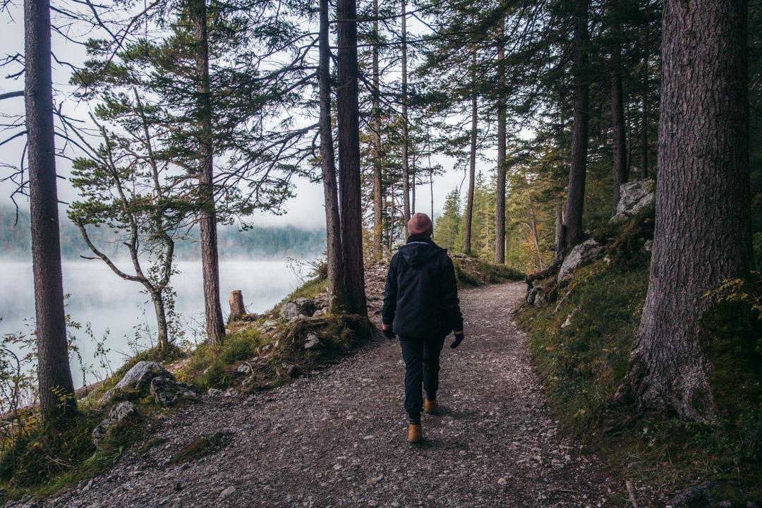 The path running around the lake