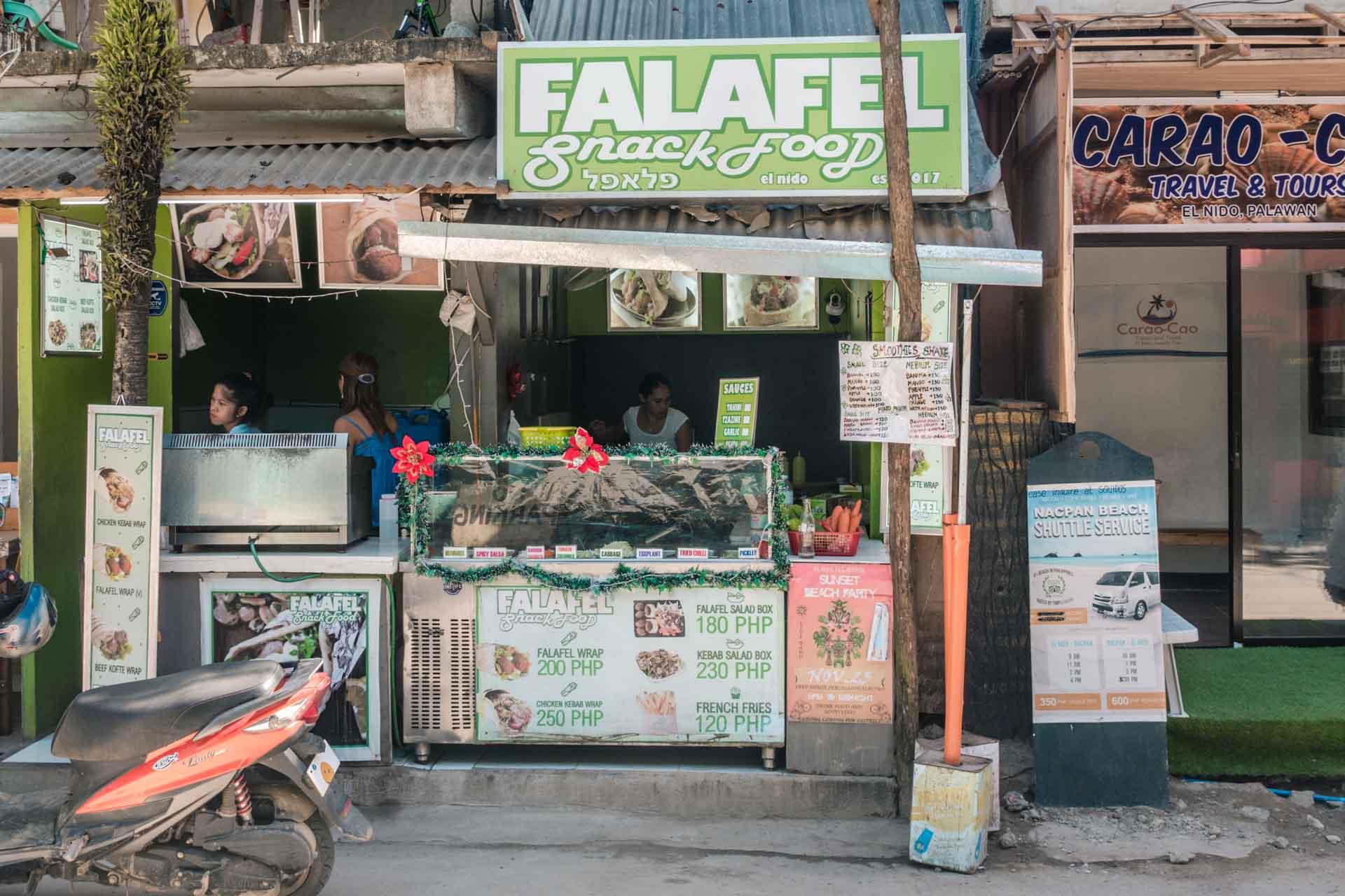 Falafel stand in El Nido Town