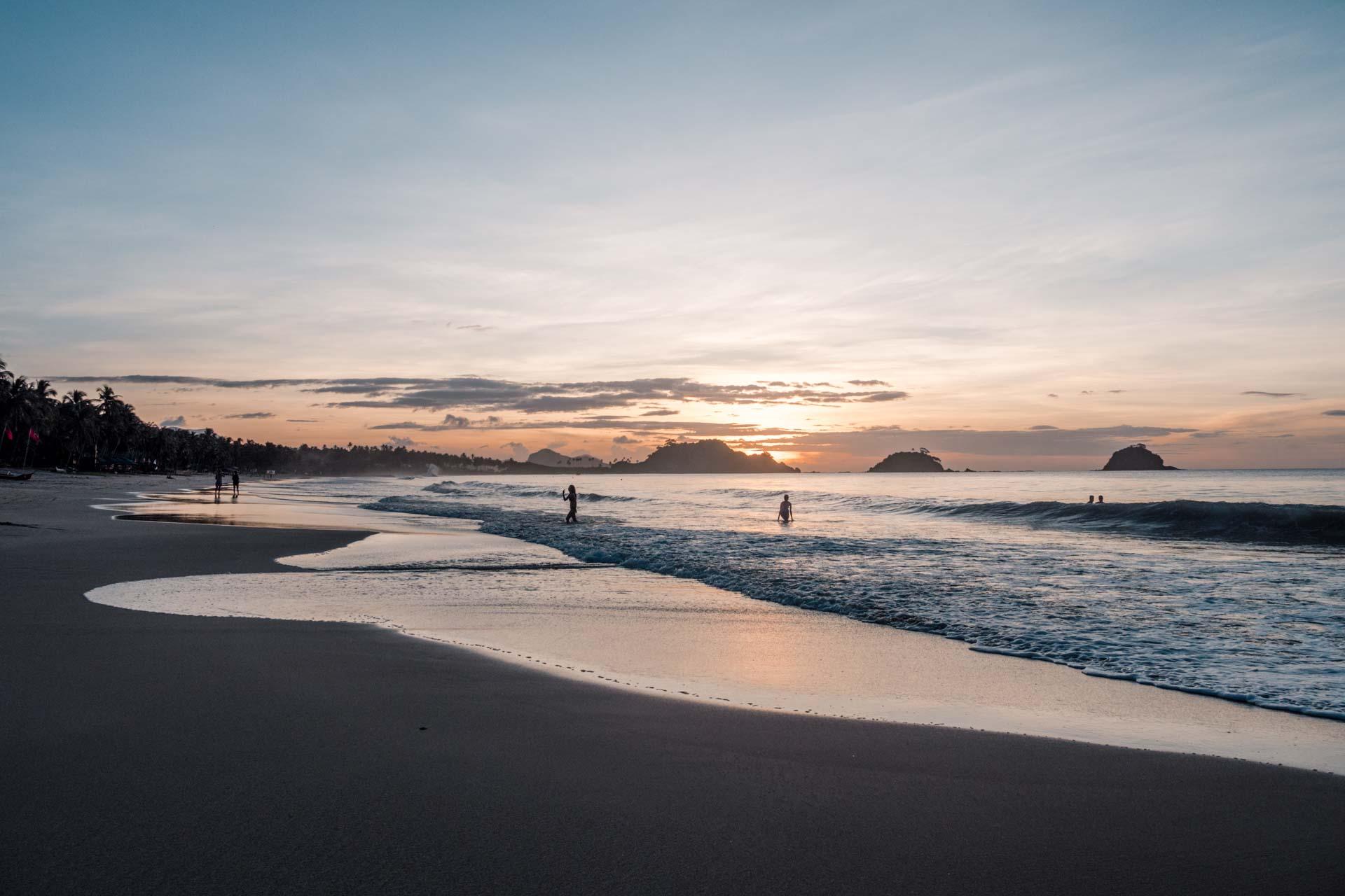 Nacpan Beach at sunset