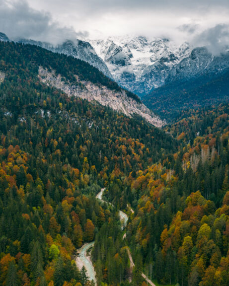 Garmisch-Partenkirchen mountains drone photo