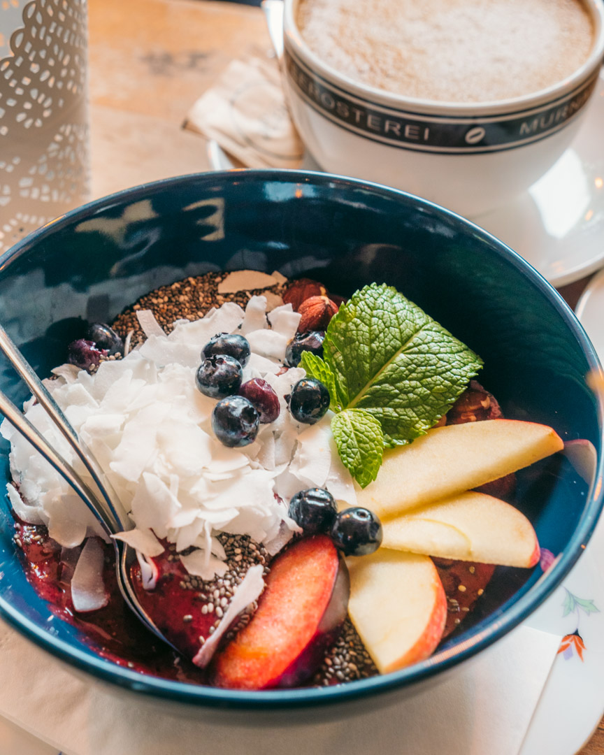 Açaí bowl with coconut flakes, blueberries, chia seeds and fruit