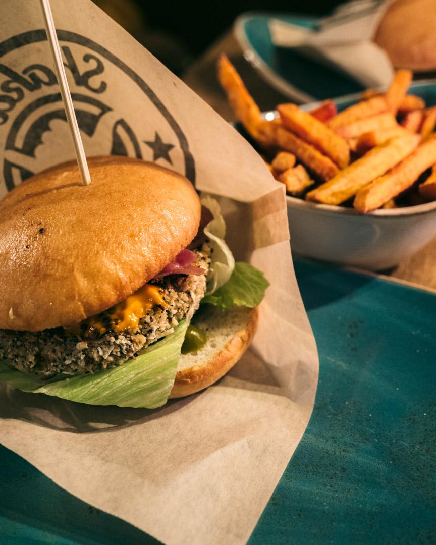 The vegan burger with sweet potato fries at Shaka Burgerhouse