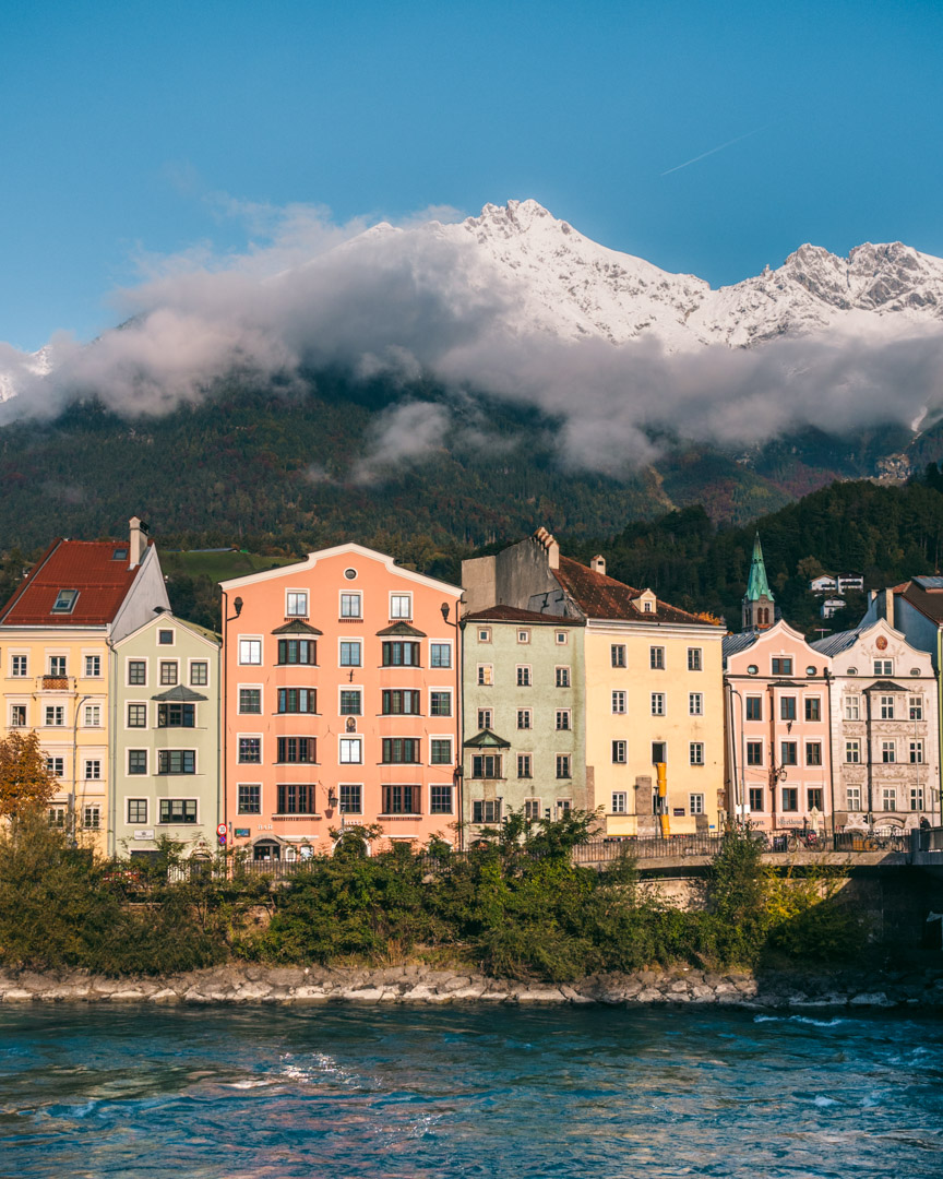 Innsbruck by the river with mountain views