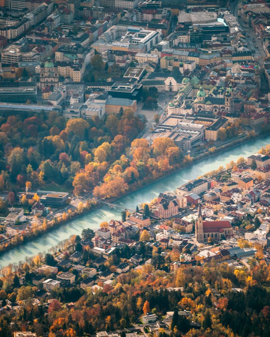 Innsbruck from above in autumn