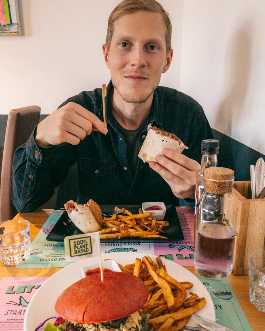 Vegan burger and a burrito