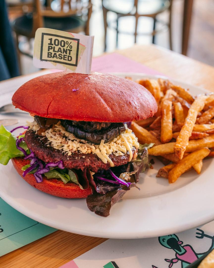 Vegan burger at Green Flamingo