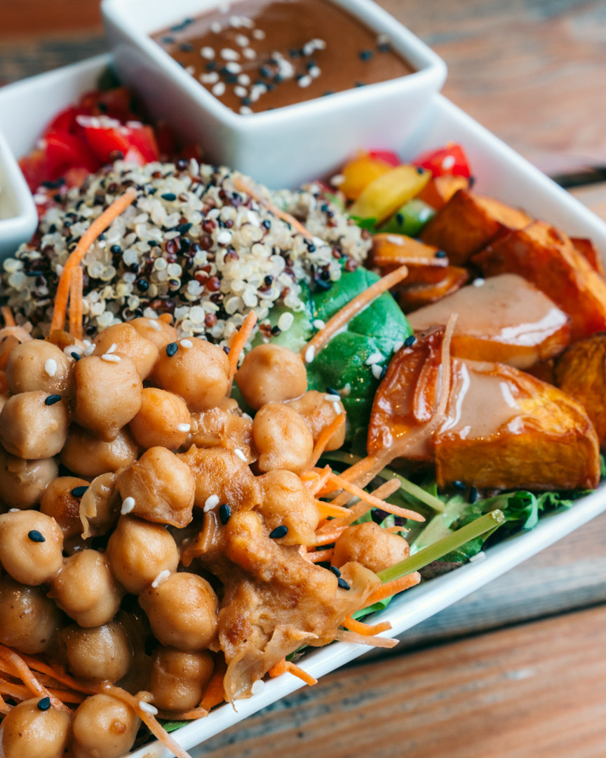 Healthy salad with chickpeas, quinoa, sweet potatoes and more