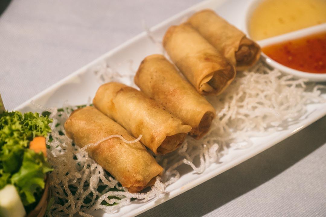 Deep fried mini vegetable spring rolls