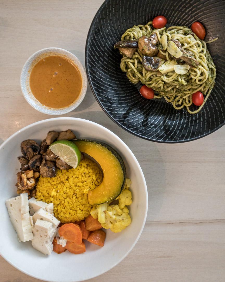 Vegan pasta pesto and a healthy bowl