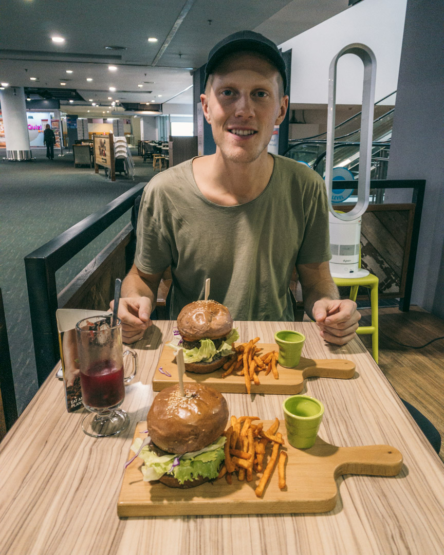 Vegan burgers at BMS Organics in KLIA2