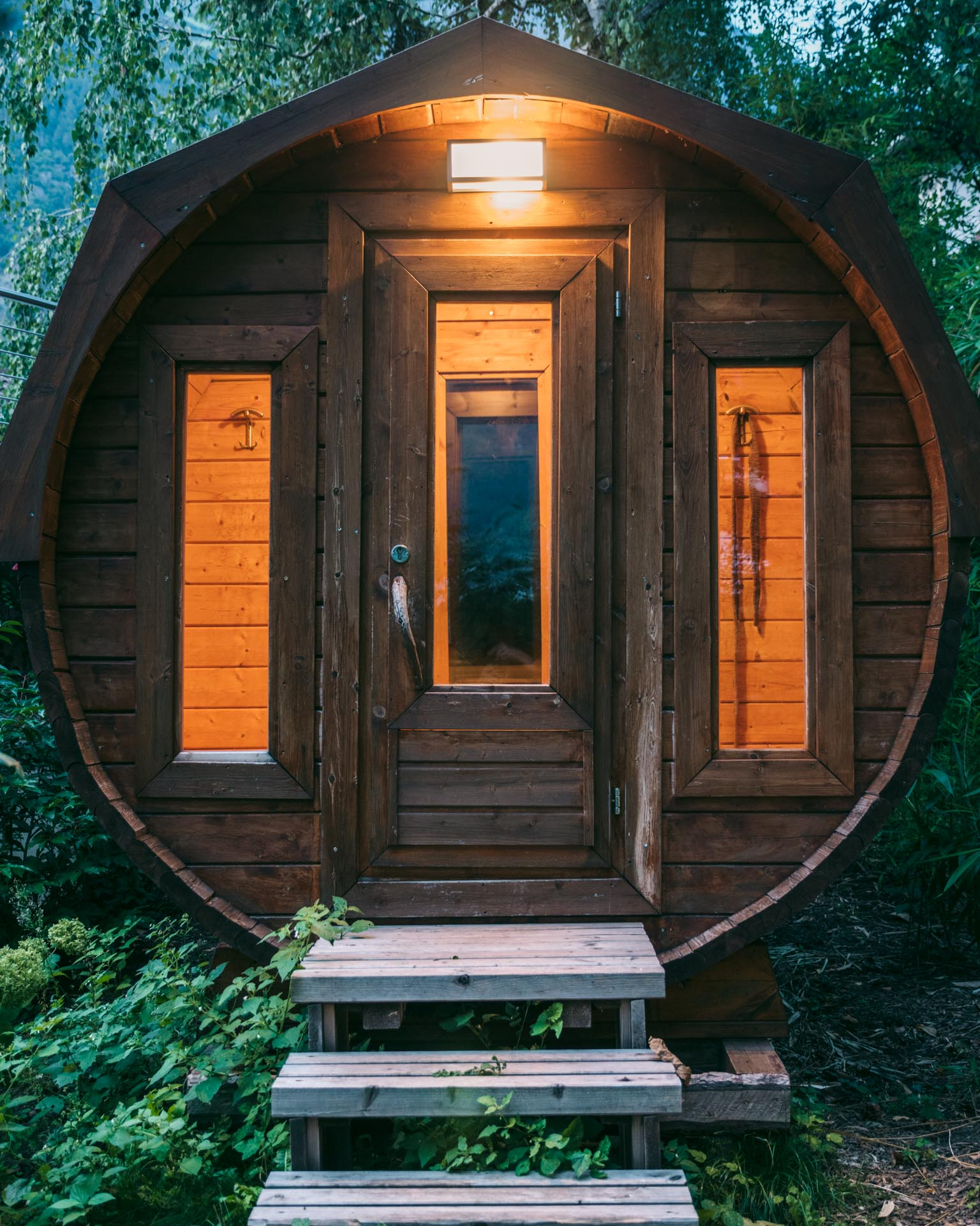 Forest sauna at night