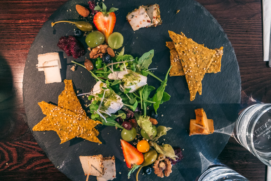 A raw vegan cheese platter