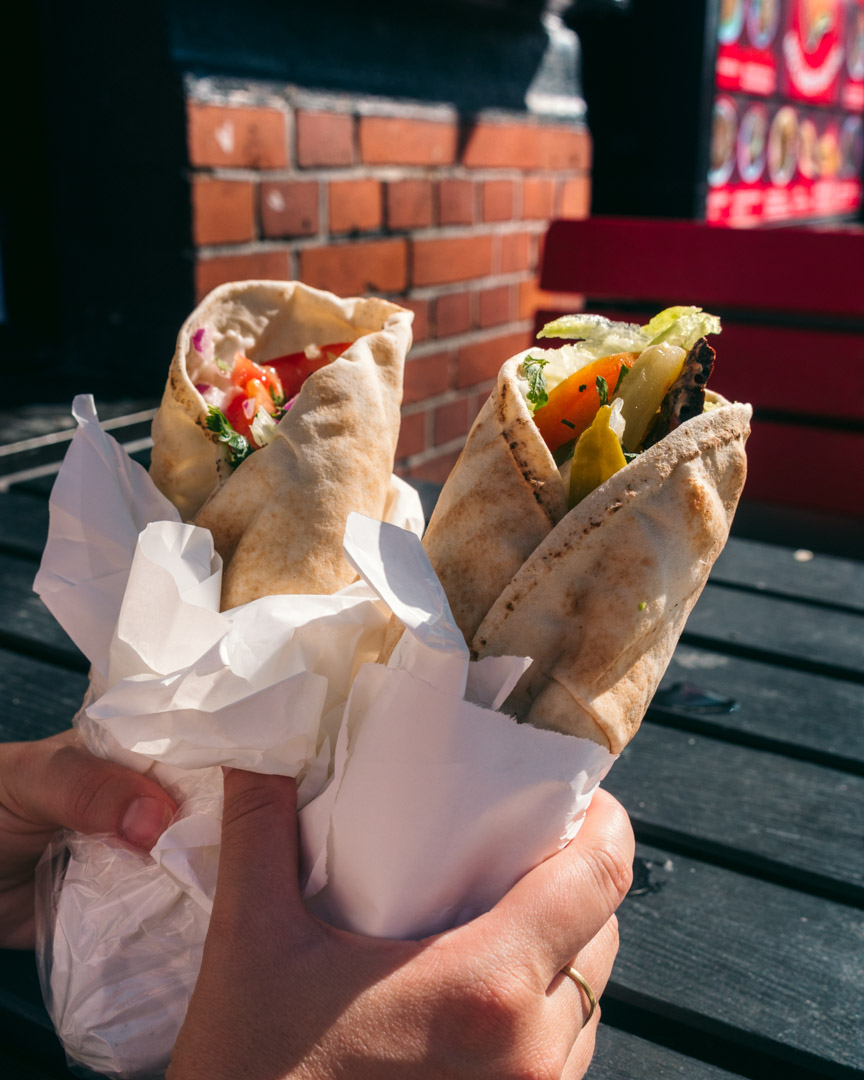 "A falafel wrap with eggplant and a ""shawarma"" wrap from Möllans Falafel"