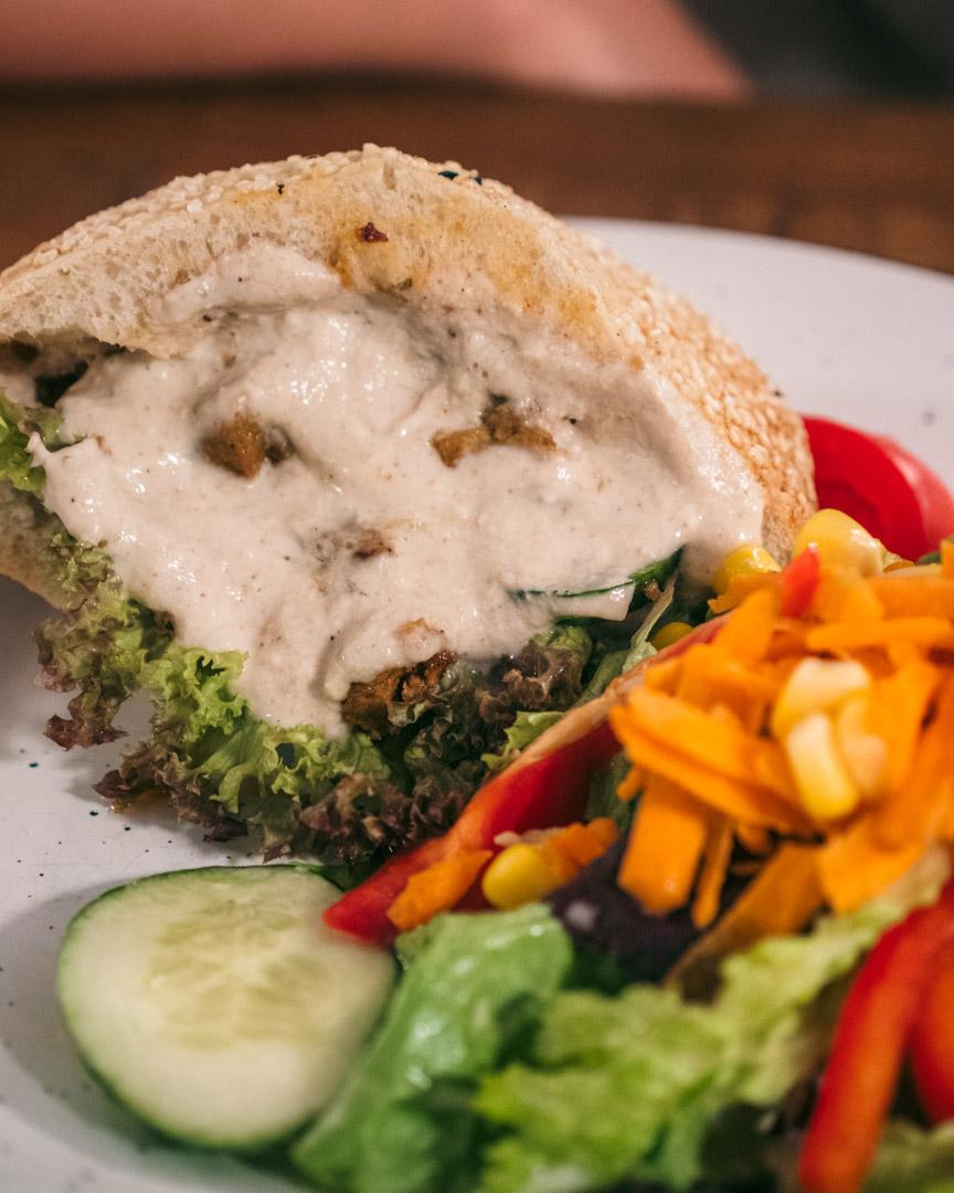 Greek-style gyros sandwich