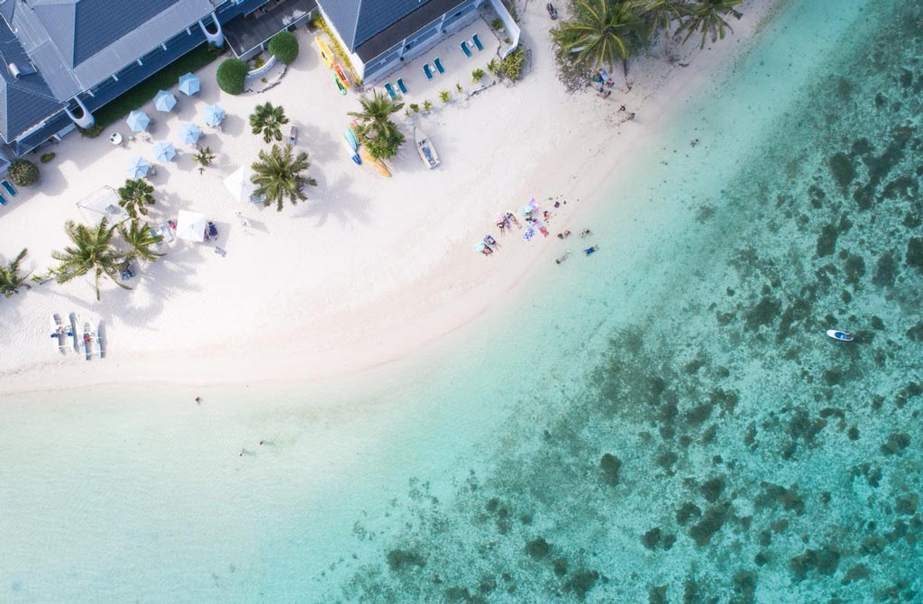 Drone shot of Muri Beach Club