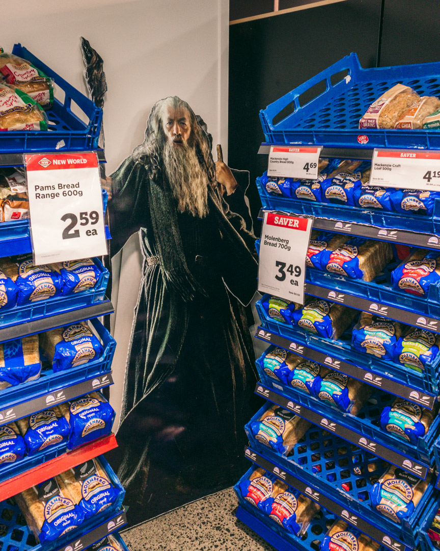Gandalf in a supermarket in New Zealand