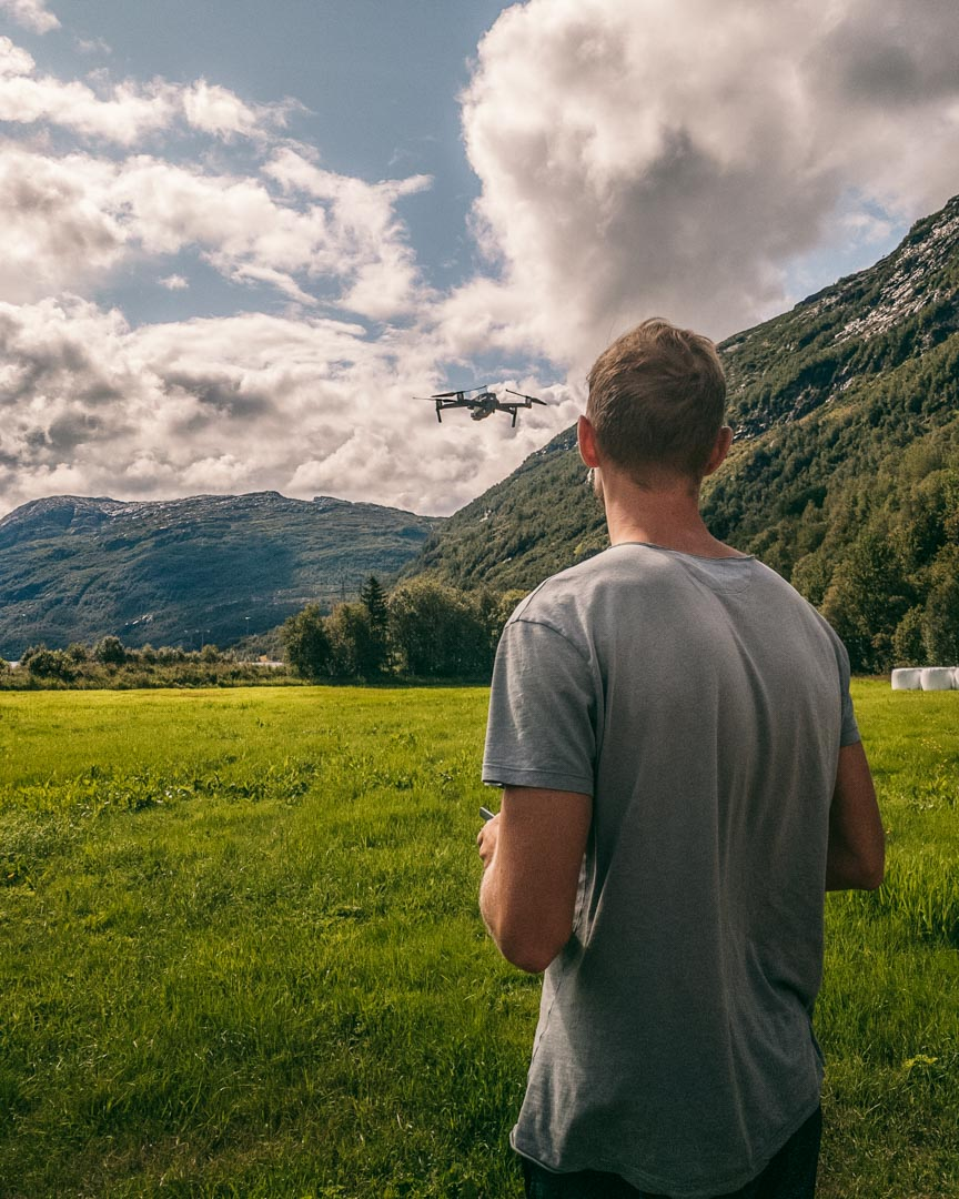 Alex flying the drone in Røldal