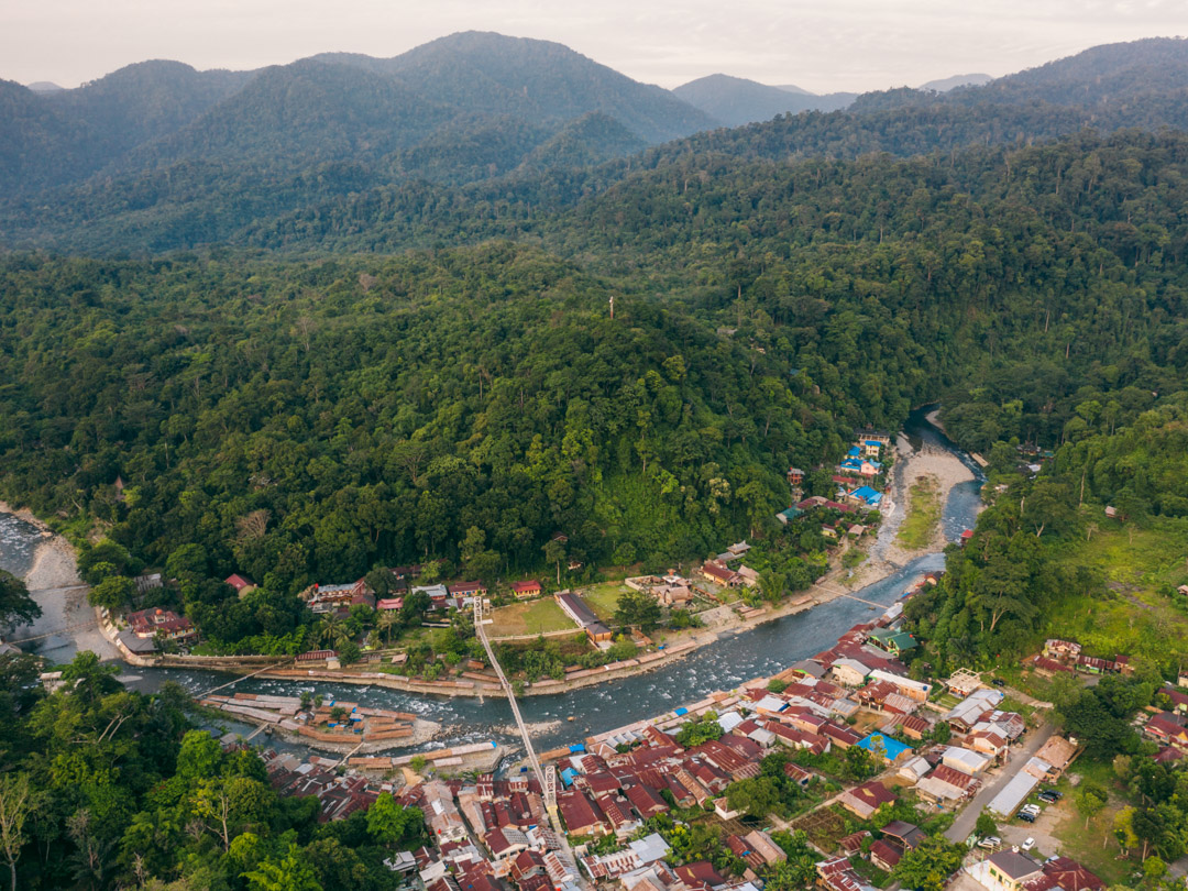 Bukit Lawang from above with the rainforest in the background