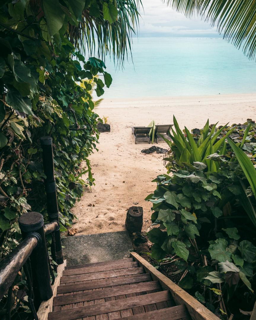 Stairs to the beach at Pacific Resort Aitutaki