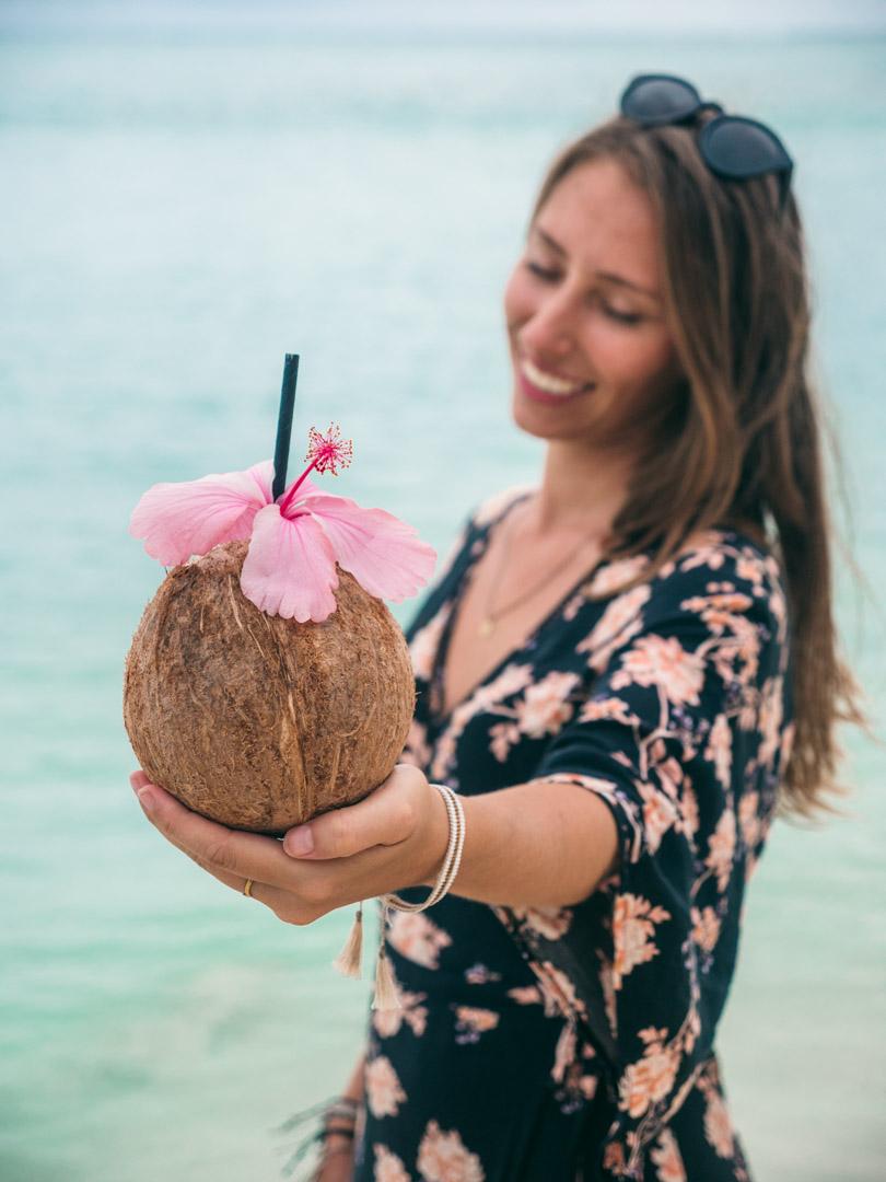 Coconut at Aitutaki beach