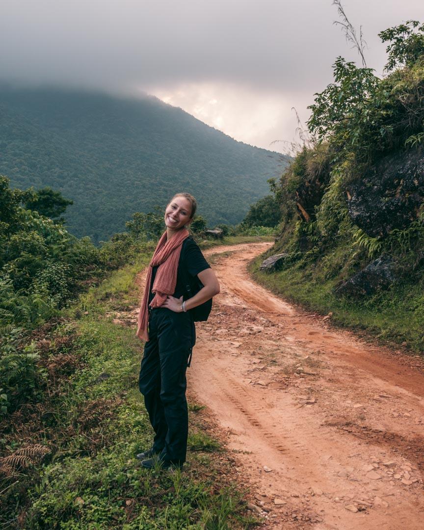 Victoria trekking in Nepal