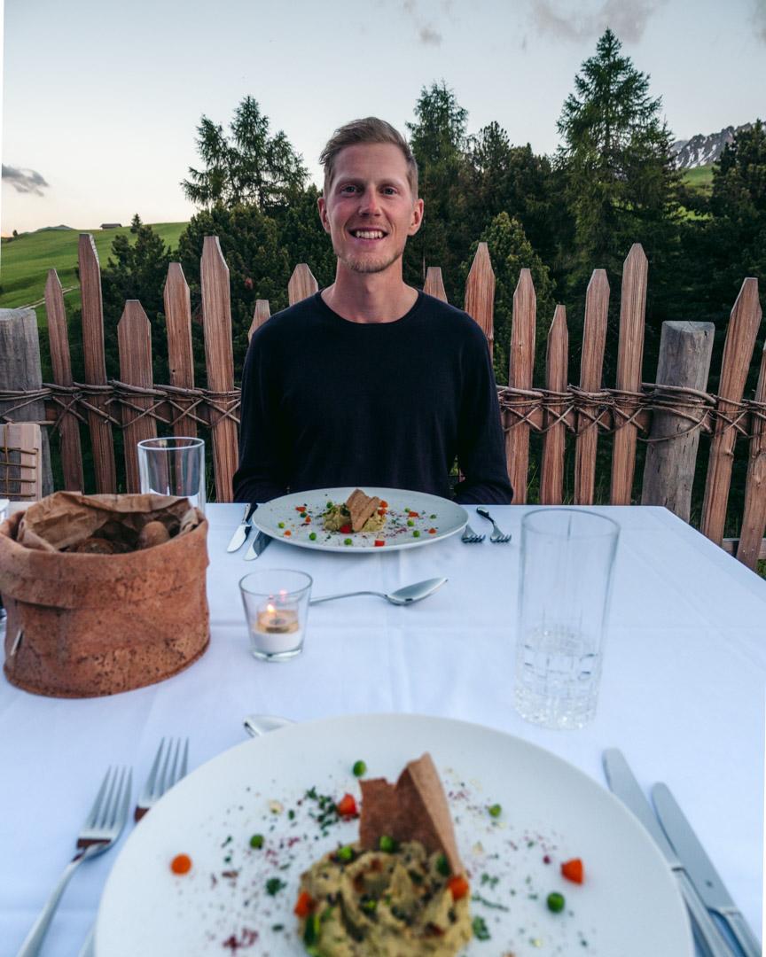 Alex with vegan pea hummus