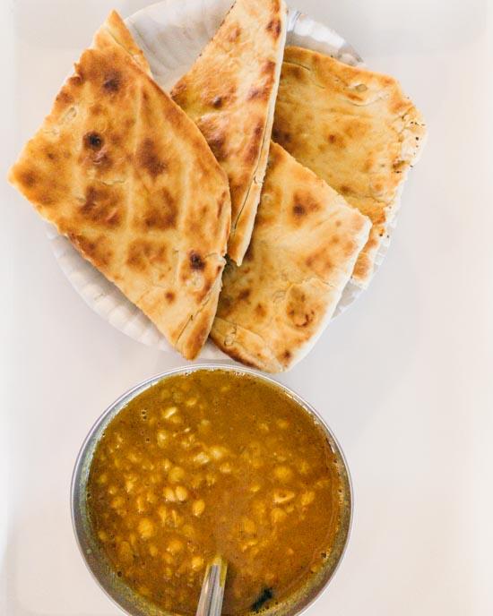 Dhaal and garlic naan.
