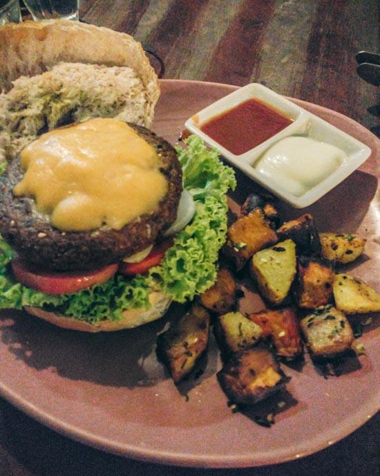 All vegan cheeseburger