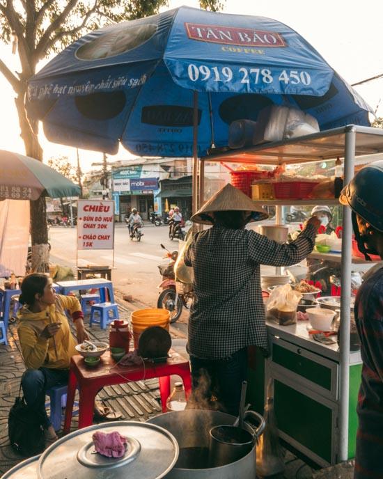 Vegan street food in Duong Dong.