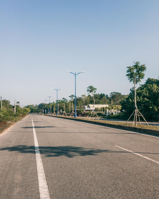 A desolate stretch of highway in southern Phu Quoc