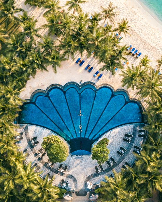 JW Marriott's iconic shell pool as seen from our drone