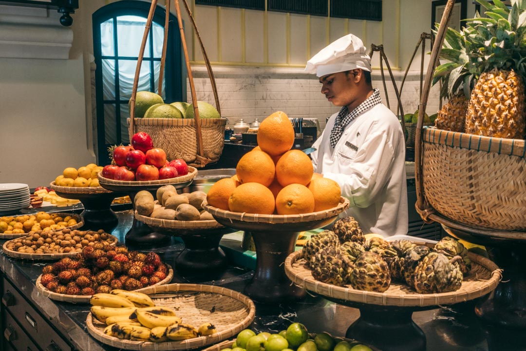 Fruit at breakfast buffet