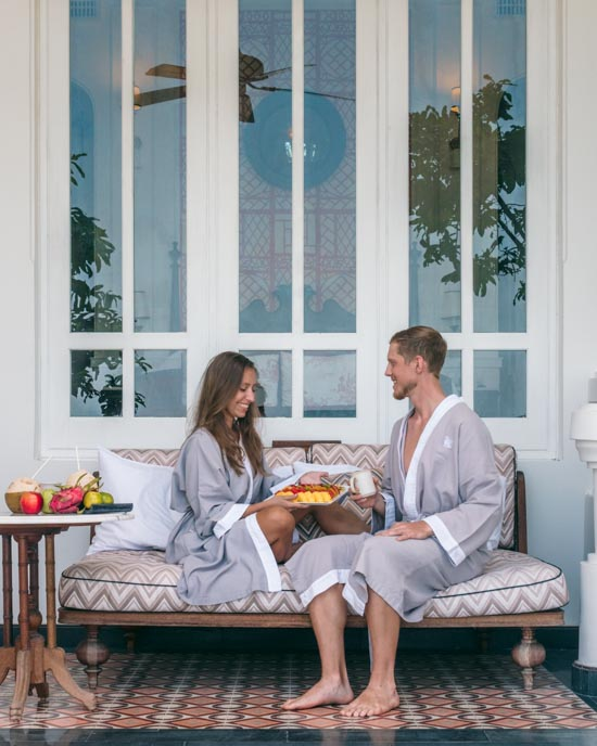 Breakfast in matching robes