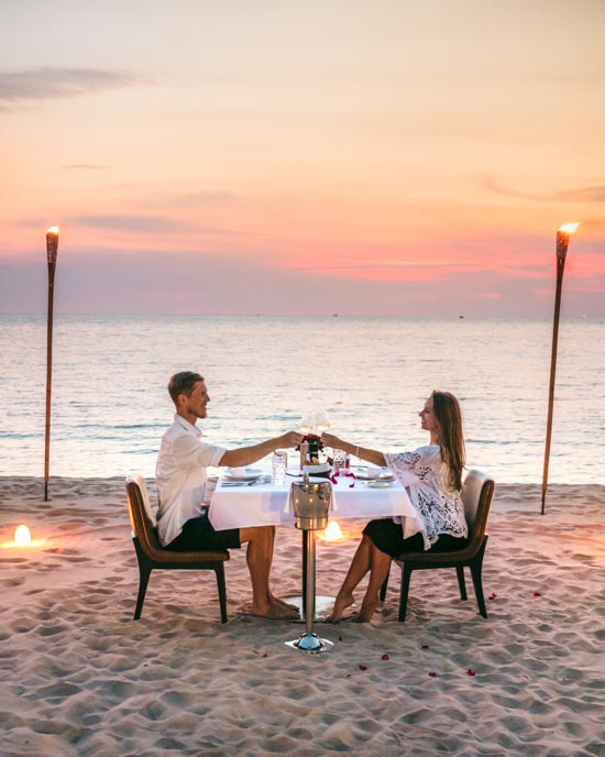 Our romantic dinner at Radisson Blu's private beach