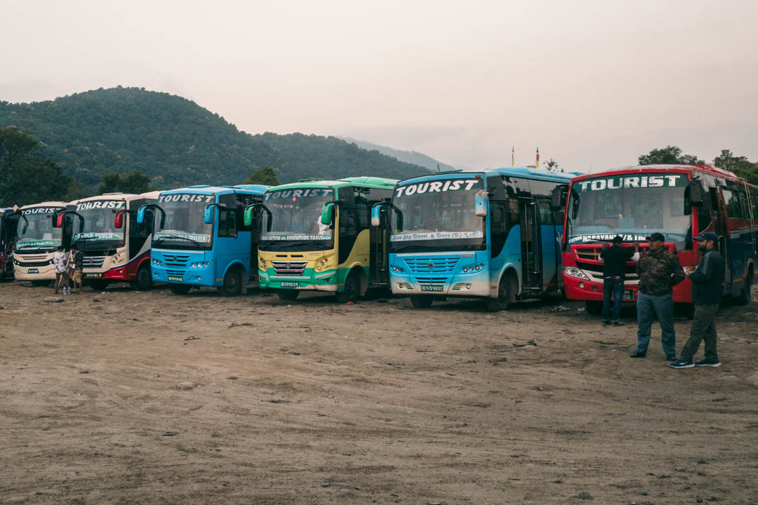 Tourist buses in Pokhara