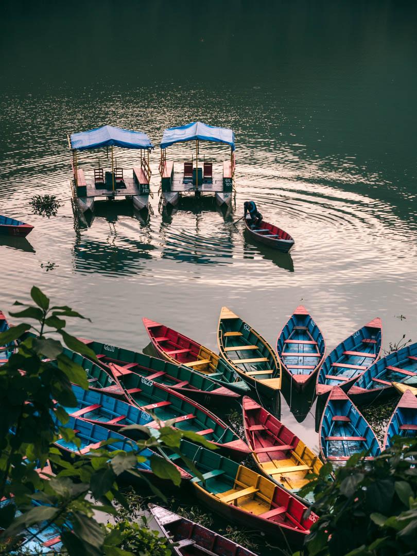 Boats on Lake Phewa in Pokhara