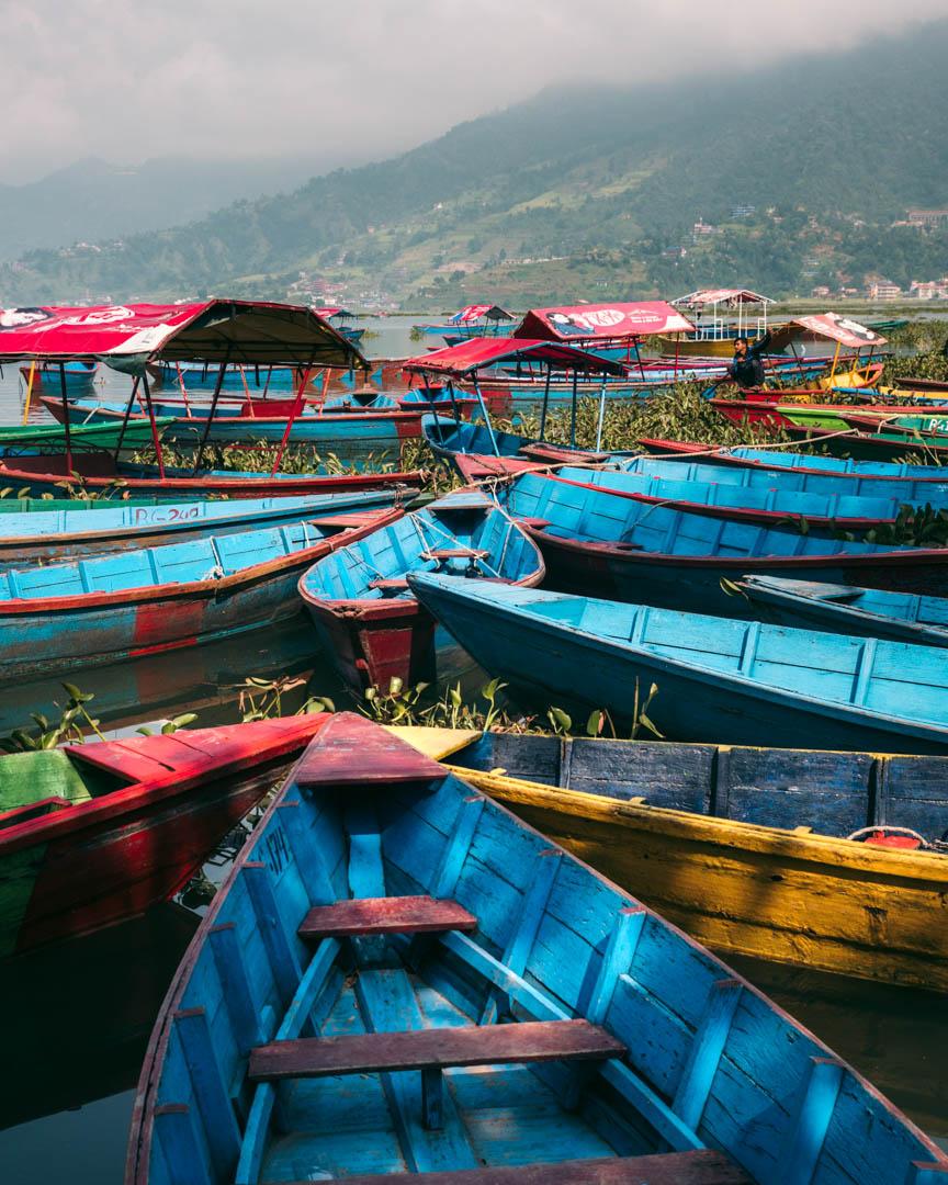Boats in Pokhara, Nepal