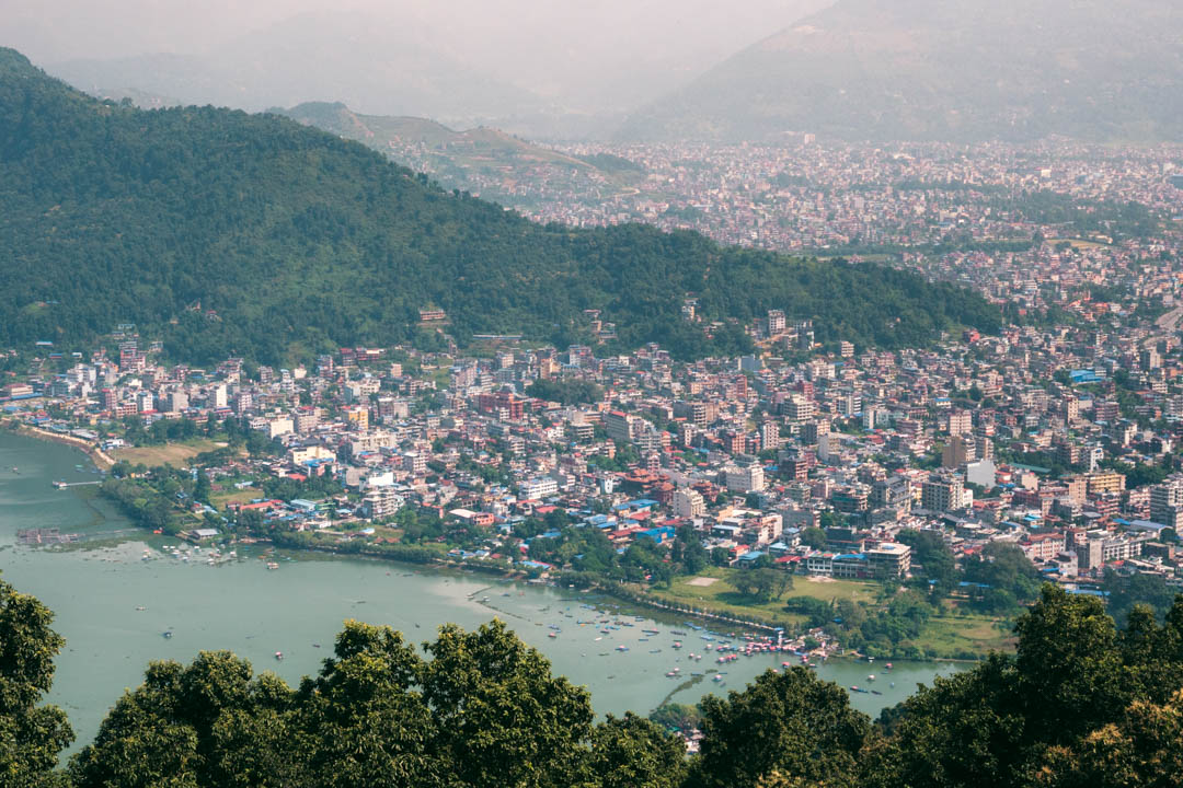 View from The World Peace Pagoda in Pokhara, Nepal